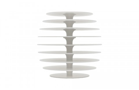 Guéridon design Ruche 9, laqué blanc, par Avril de Pastre pour Polit. Chevet design, bout de canapé laqué, made in France