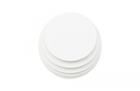 Guéridon design Ruche 9, laqué blanc mat, par Avril de Pastre pour Polit. Chevet design, bout de canapé laqué, made in France