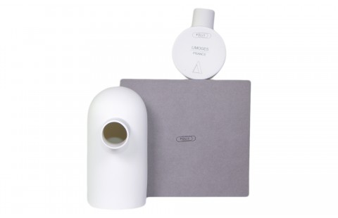 Tirelire design Glouton blanc en Porcelaine de Limoges et sa boîte cloche