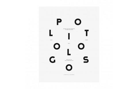 Affiche typographique noir et blanc Moodpaper Politologos, affiche design graphique, Polit x Les Graphiquants