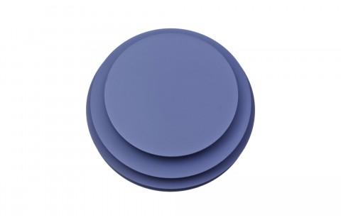 Guéridon design Ruche 6, laqué bleu mat, par Avril de Pastre pour Polit. Chevet design, bout de canapé laqué, made in France
